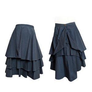 Vintage 3 tier full midi skirt